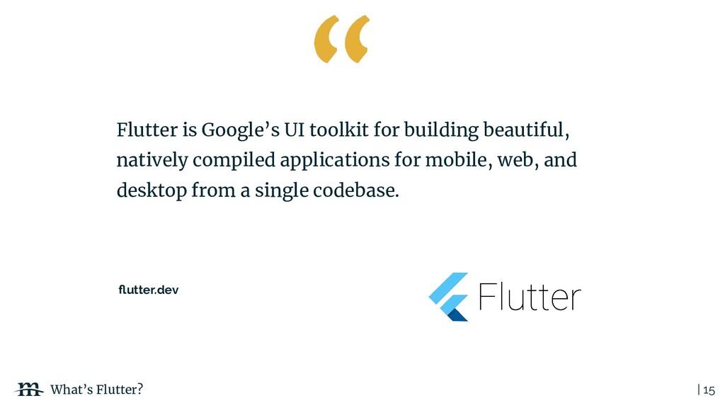 | 15 What's Flutter? Flutter is Google's UI too...