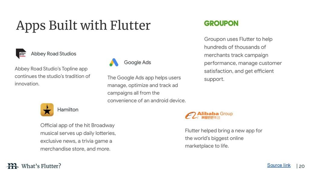 | 20 What's Flutter? Source link Apps Built wit...