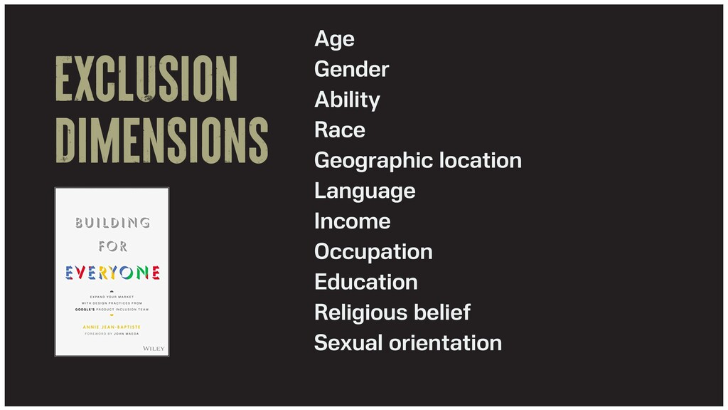 Exclusion dimensions Age   Gender   Ability   R...