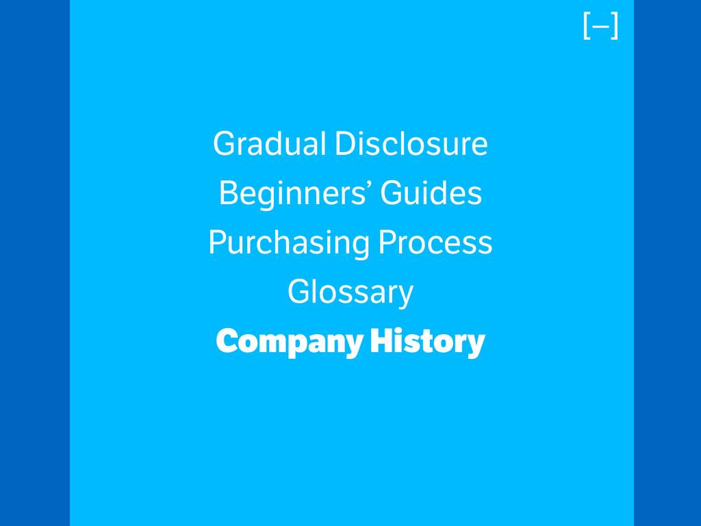 Gradual Disclosure Beginners' Guides Purchasing...