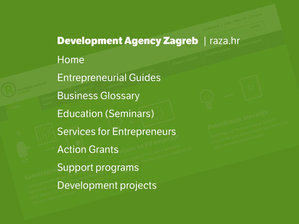 Development Agency Zagreb | raza.hr Home Entrep...