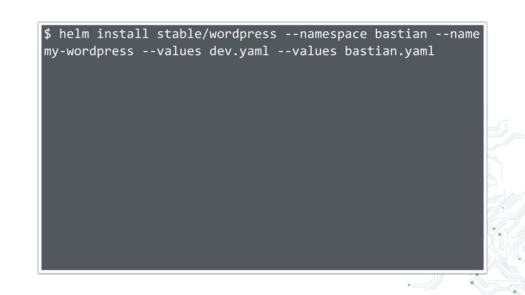 $ helm install stable/wordpress --namespace bas...