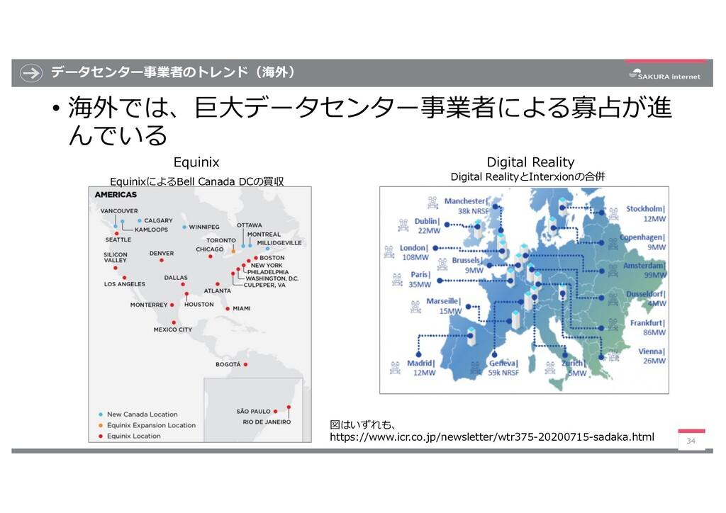 データセンター事業者のトレンド(海外) • 海外では、巨⼤データセンター事業者による寡占が進 ...
