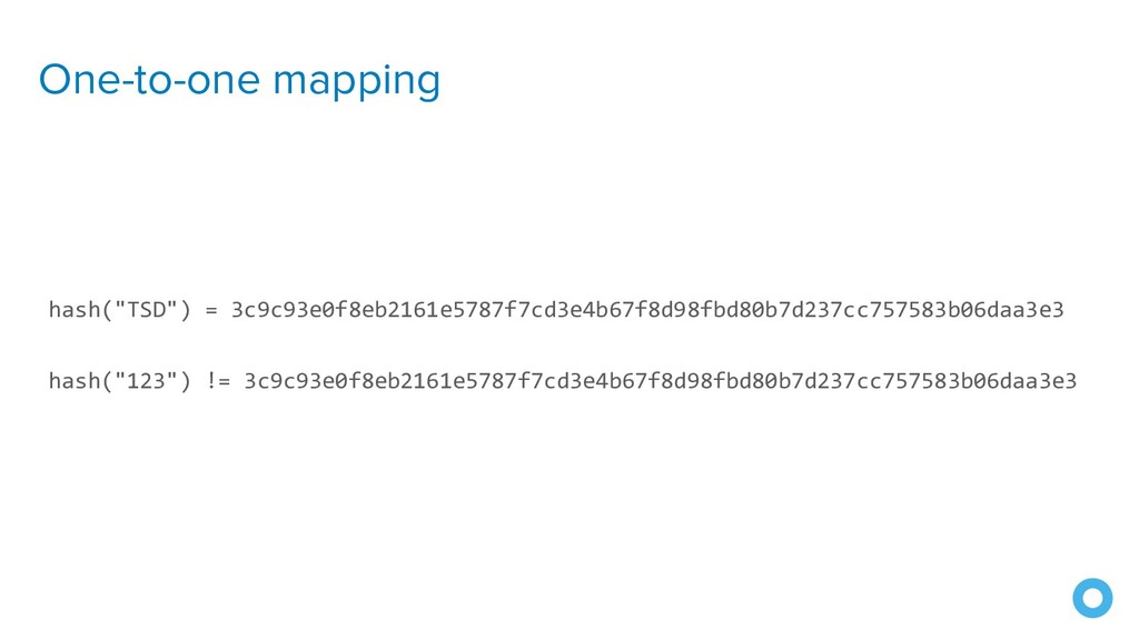 """One-to-one mapping hash(""""TSD"""") = 3c9c93e0f8eb21..."""