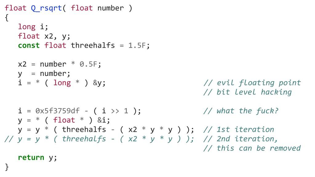 float Q_rsqrt( float number ) { long i; float x...