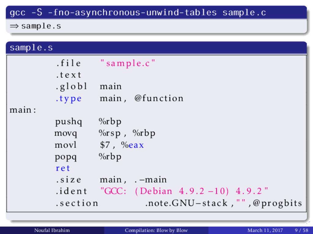 gcc -S -fno-asynchronous-unwind-tables sample.c...