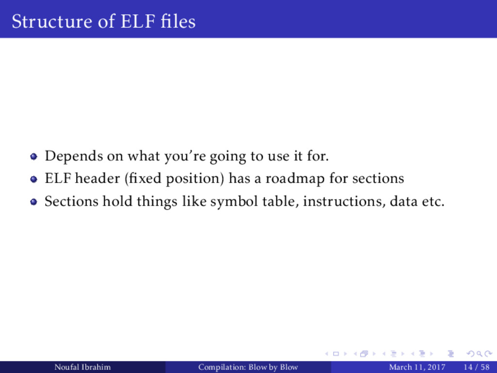 Structure of ELF files Depends on what you're go...
