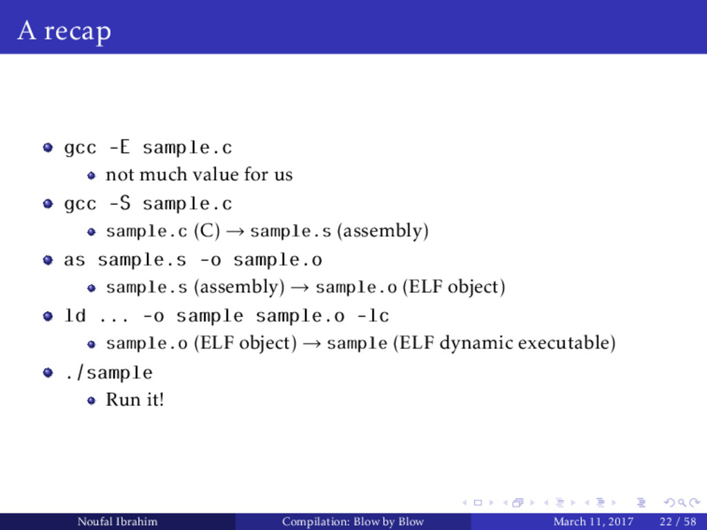 A recap gcc -E sample.c not much value for us g...