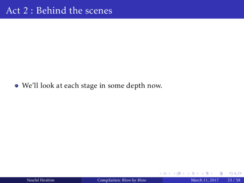Act 2 : Behind the scenes We'll look at each st...