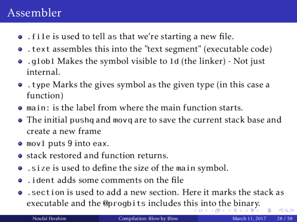Assembler .file is used to tell as that we're s...