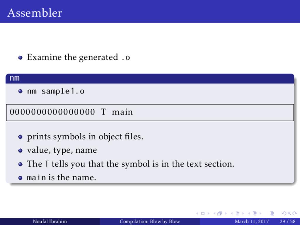 Assembler Examine the generated .o nm nm sample...