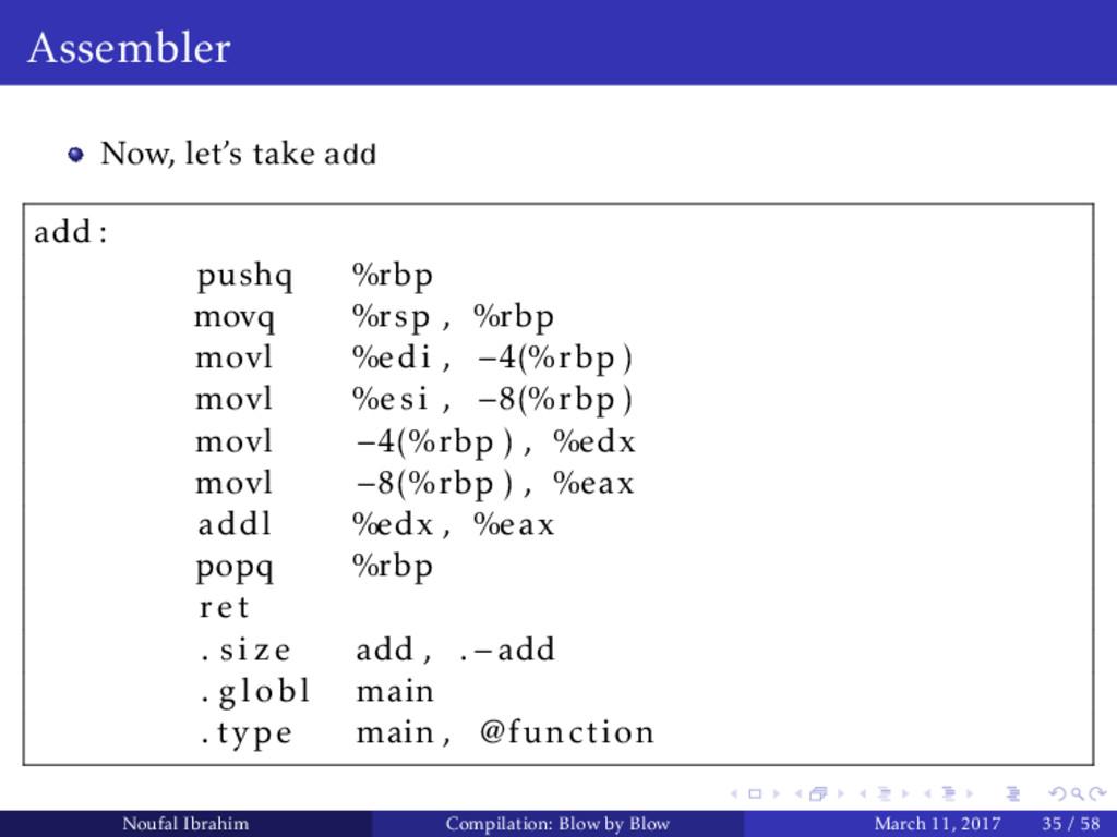 Assembler Now, let's take add add : pushq %rbp ...