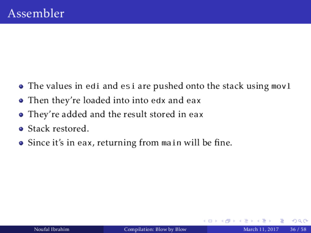 Assembler The values in edi and esi are pushed ...