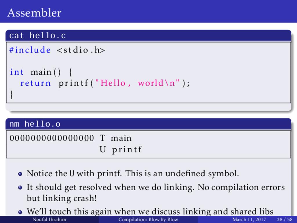 Assembler cat hello.c #include <stdio . h> int ...