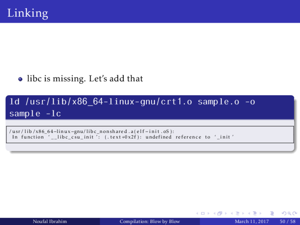Linking libc is missing. Let's add that ld /usr...