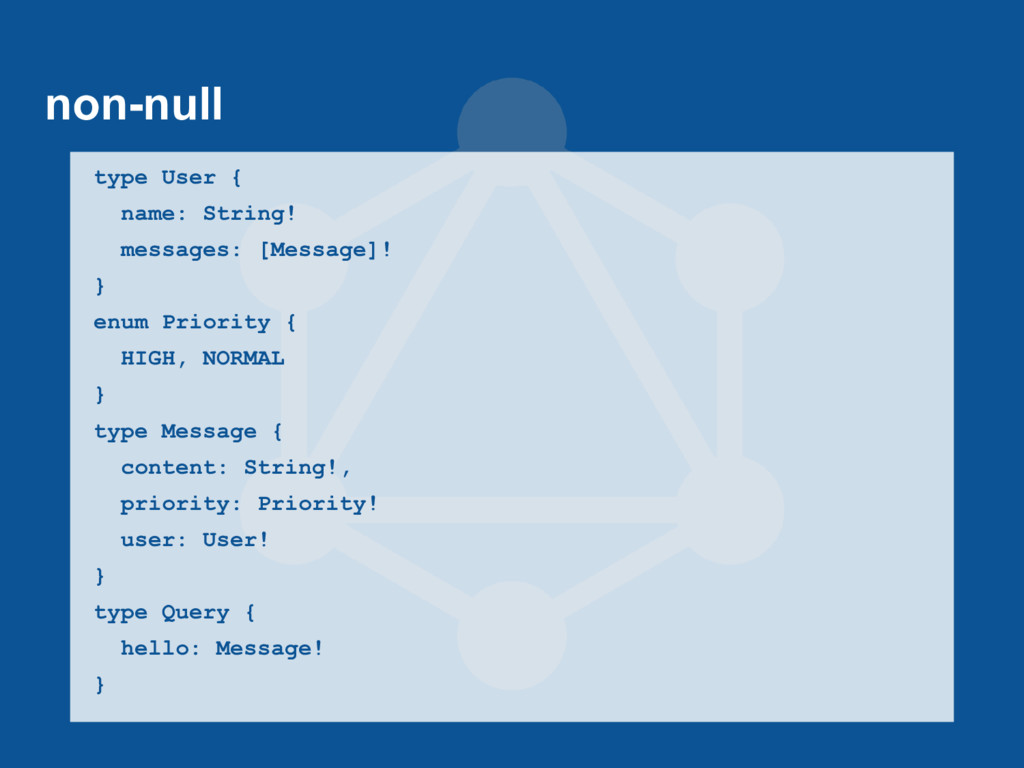 non-null type User { name: String! messages: [M...