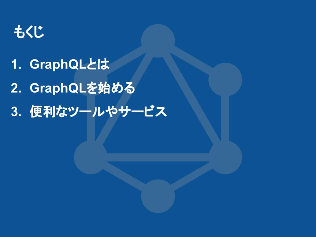 もくじ 1. GraphQLとは 2. GraphQLを始める 3. 便利なツールやサービス