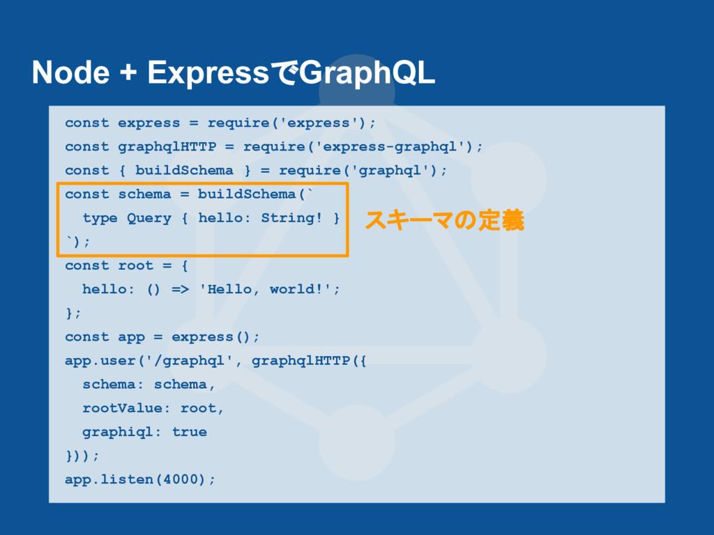 Node + ExpressでGraphQL const express = require(...
