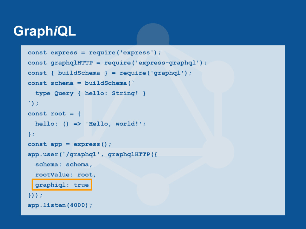 GraphiQL const express = require('express'); co...