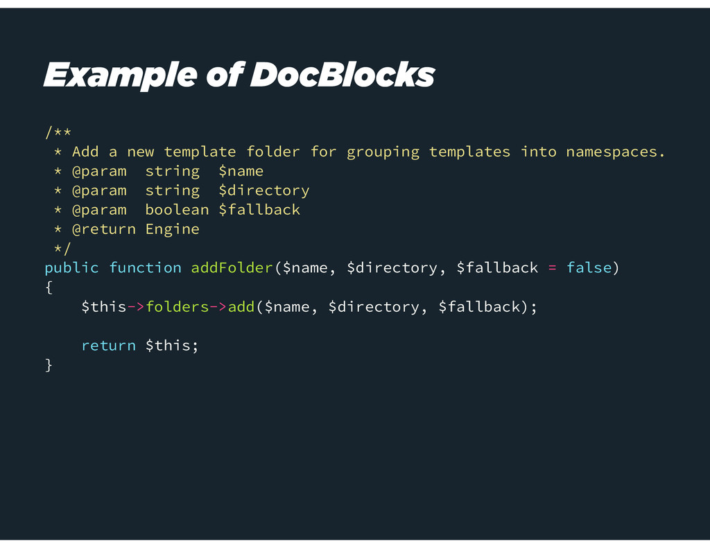 Example of DocBlocks /** * Add a new template f...