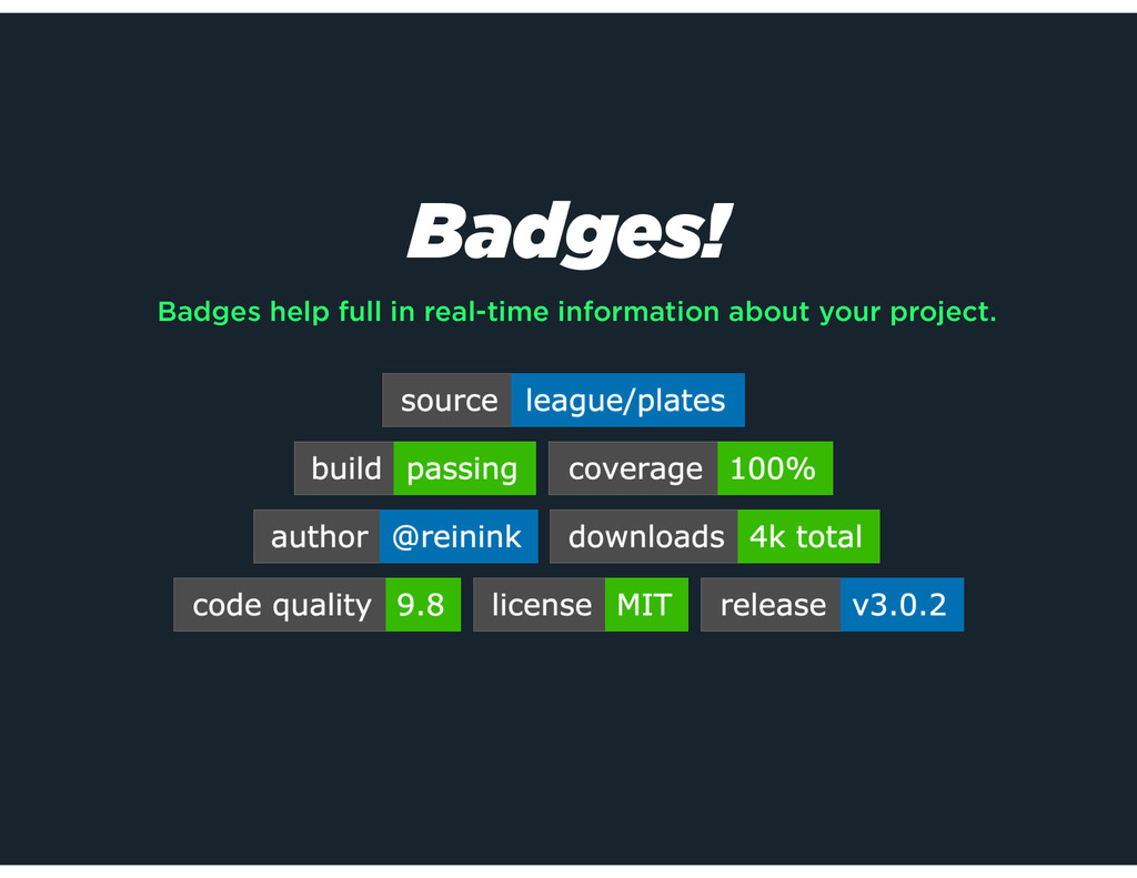 Badges! Badges help full in real-time informati...