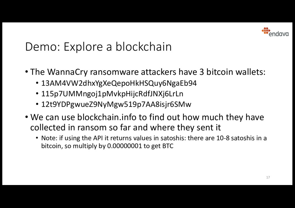 Demo: Explore a blockchain • The WannaCry ranso...