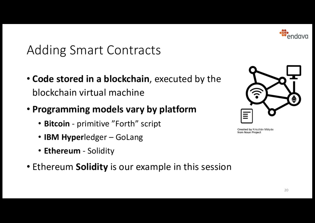 Adding Smart Contracts • Code stored in a block...