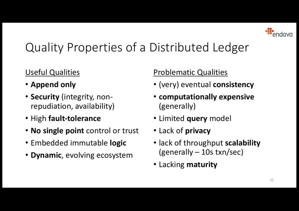 Quality Properties of a Distributed Ledger Usef...