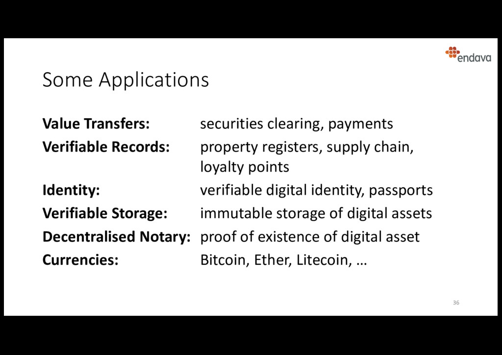Some Applications 36 Value Transfers: securitie...