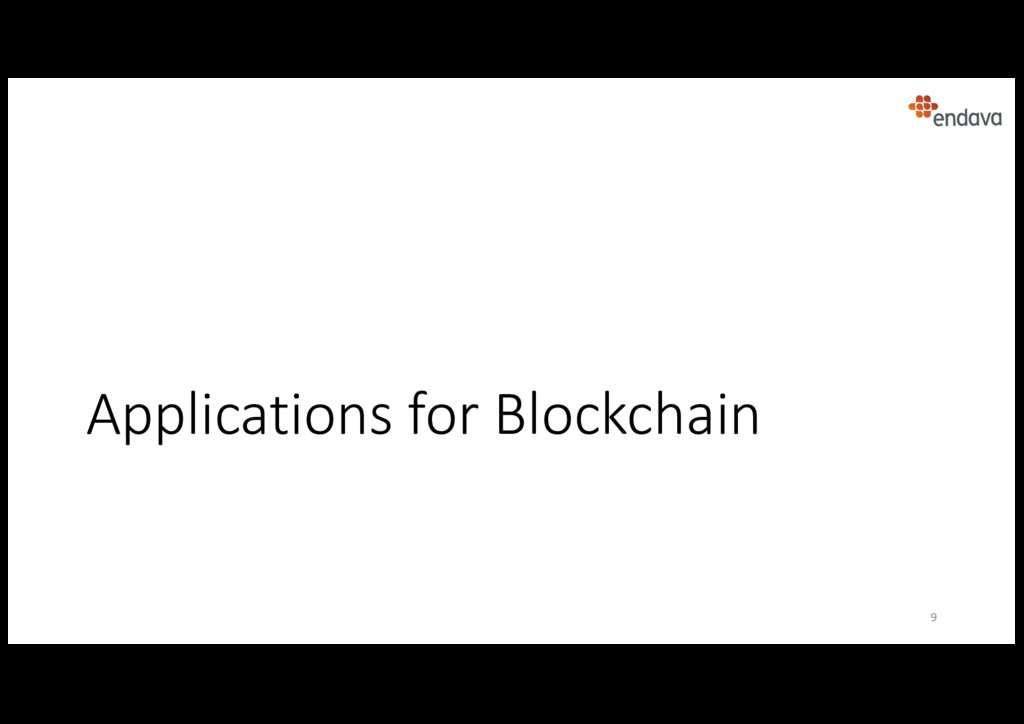Applications for Blockchain 9