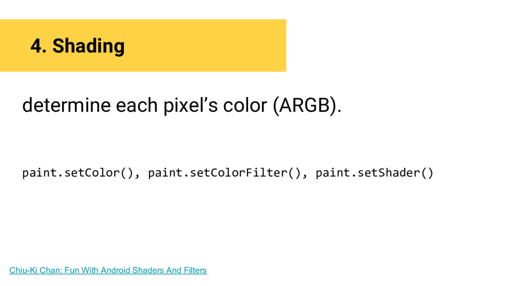 4. Shading determine each pixel's color (ARGB)....