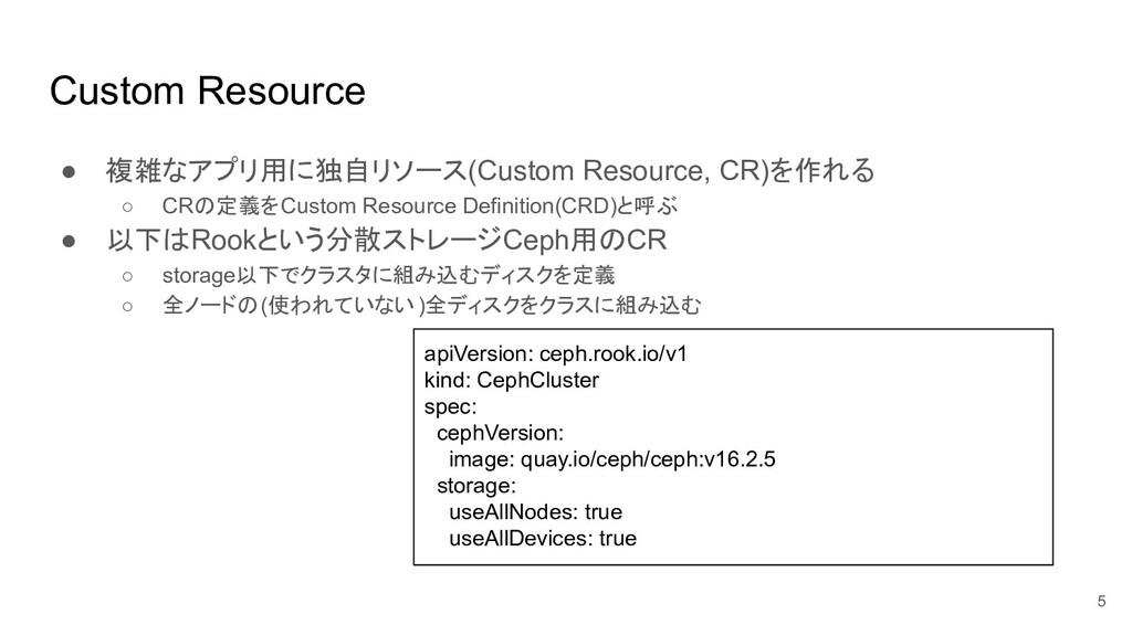 Custom Resource ● 複雑なアプリ用に独自リソース(Custom Resourc...