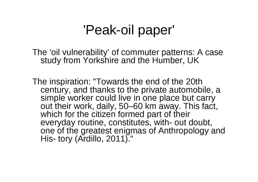 'Peak-oil paper' The 'oil vulnerability' of com...