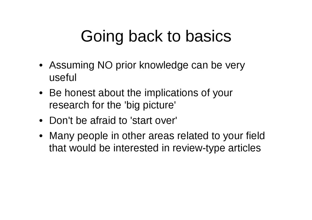 Going back to basics • Assuming NO prior knowle...