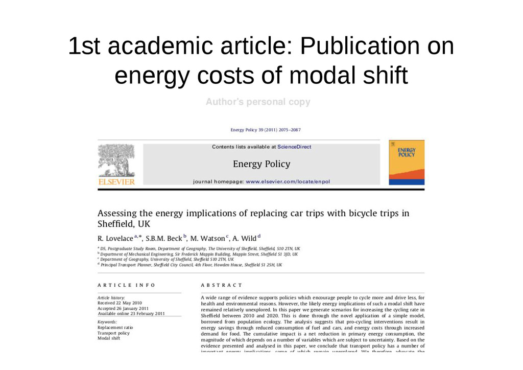1st academic article: Publication on energy cos...