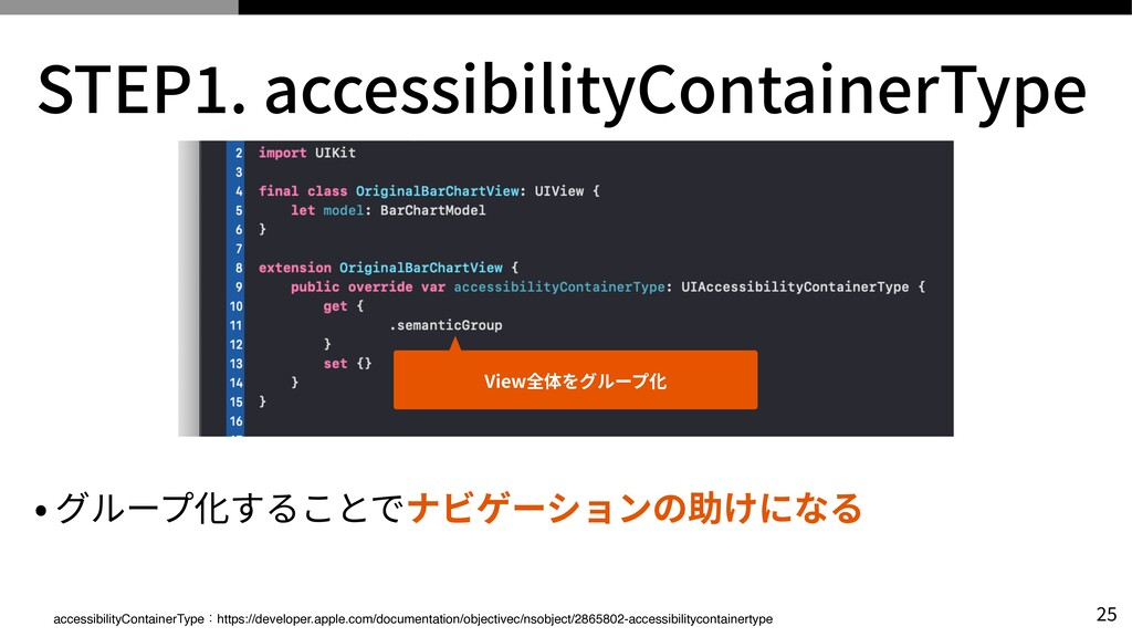STEP 1 . accessibilityContainerType • グループ化すること...