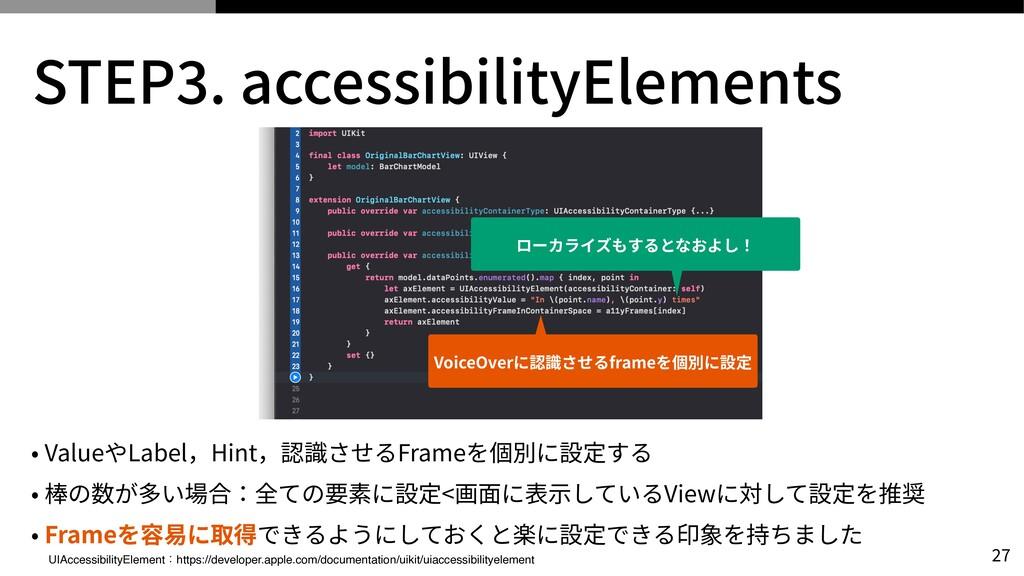 STEP 3 . accessibilityElements • ValueやLabel,Hi...