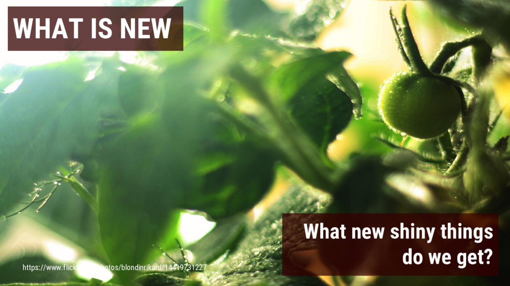 WHAT IS NEW What new shiny things do we get? ht...