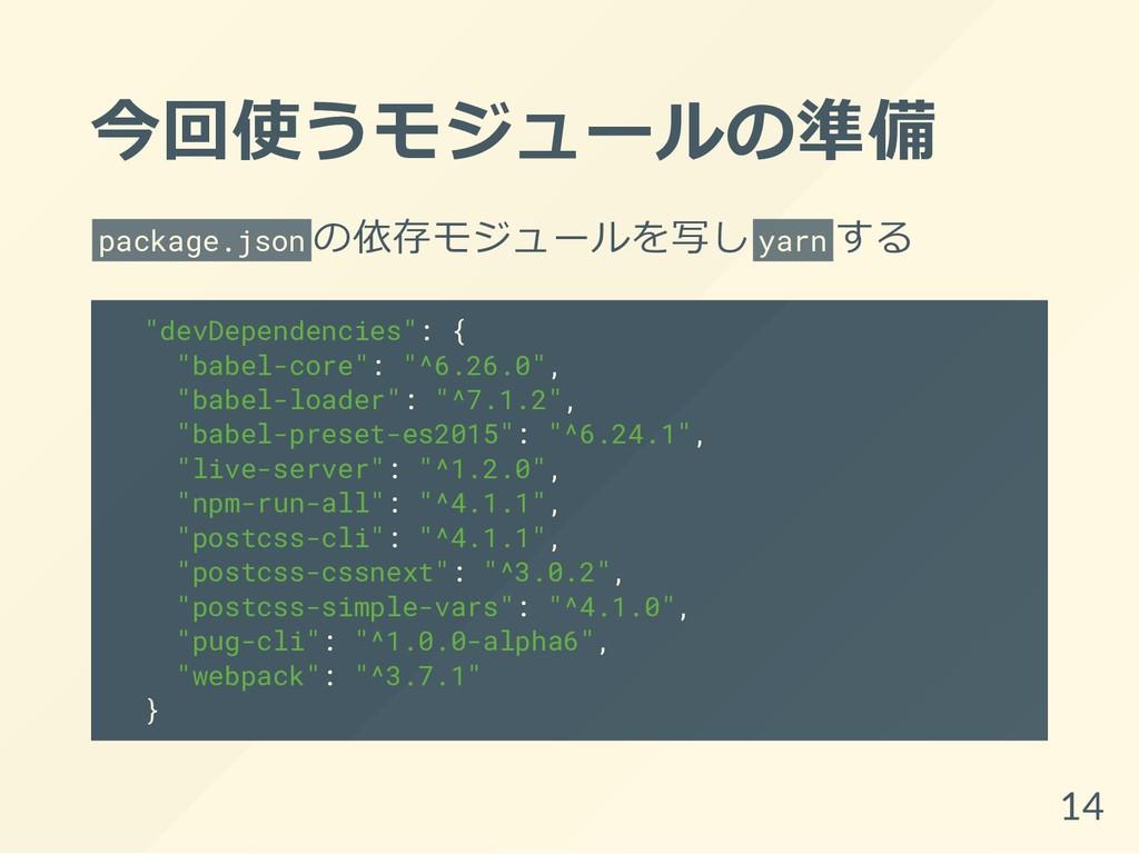 """今回使うモジュールの準備 package.json の依存モジュールを写し yarn する """"..."""