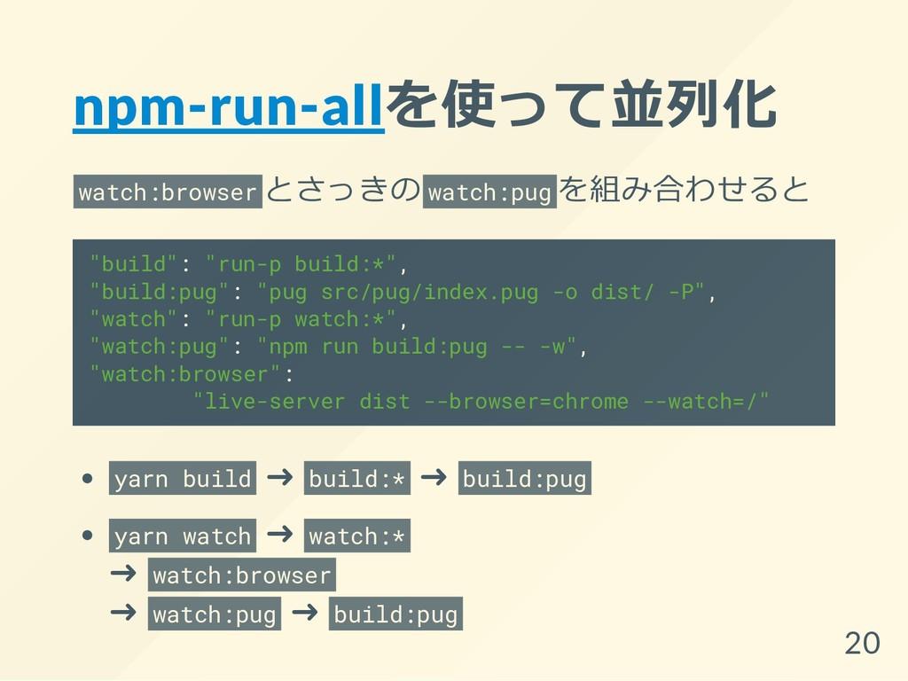 npm-run-allを使って並列化 watch:browser とさっきの watch:pu...