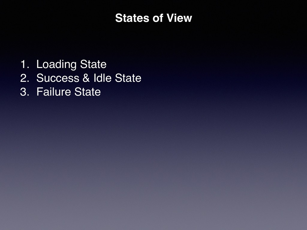 States of View 1. Loading State 2. Success & Id...
