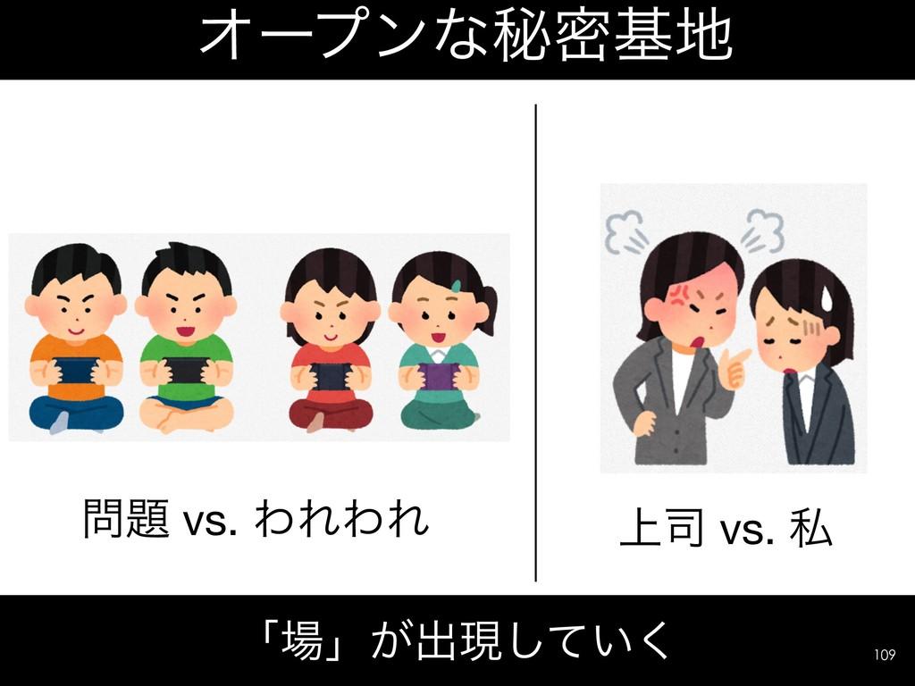 Φʔϓϯͳൿີج ʮʯ͕ग़ݱ͍ͯ͘͠ !109 ্ vs. ࢲ  vs. ΘΕΘΕ