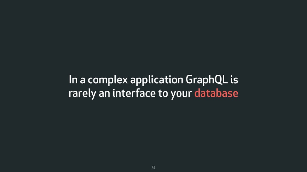 In a complex application GraphQL is rarely an i...