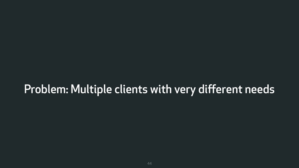 Problem: Multiple clients with very different ne...