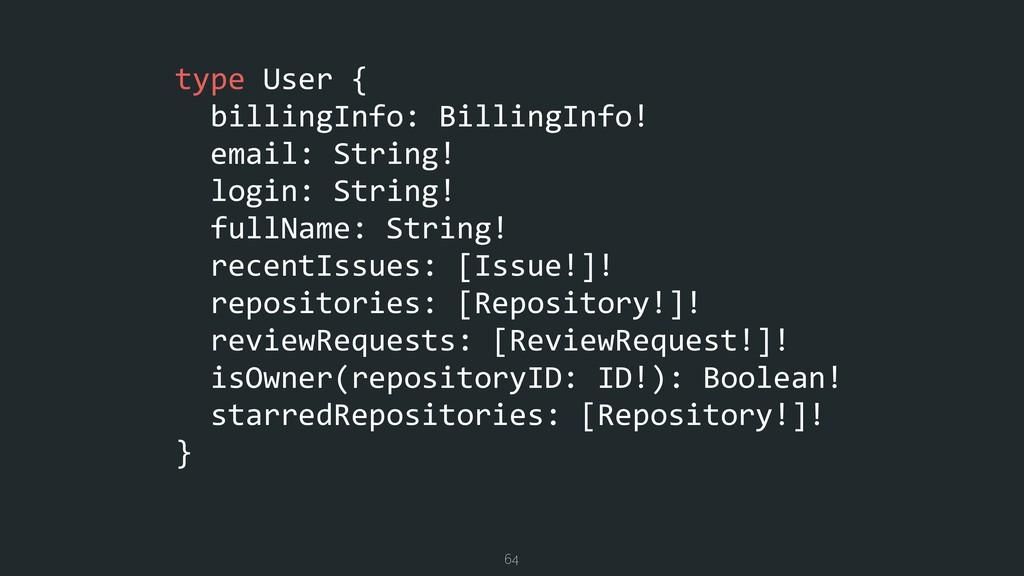 type User { billingInfo: BillingInfo! email: St...