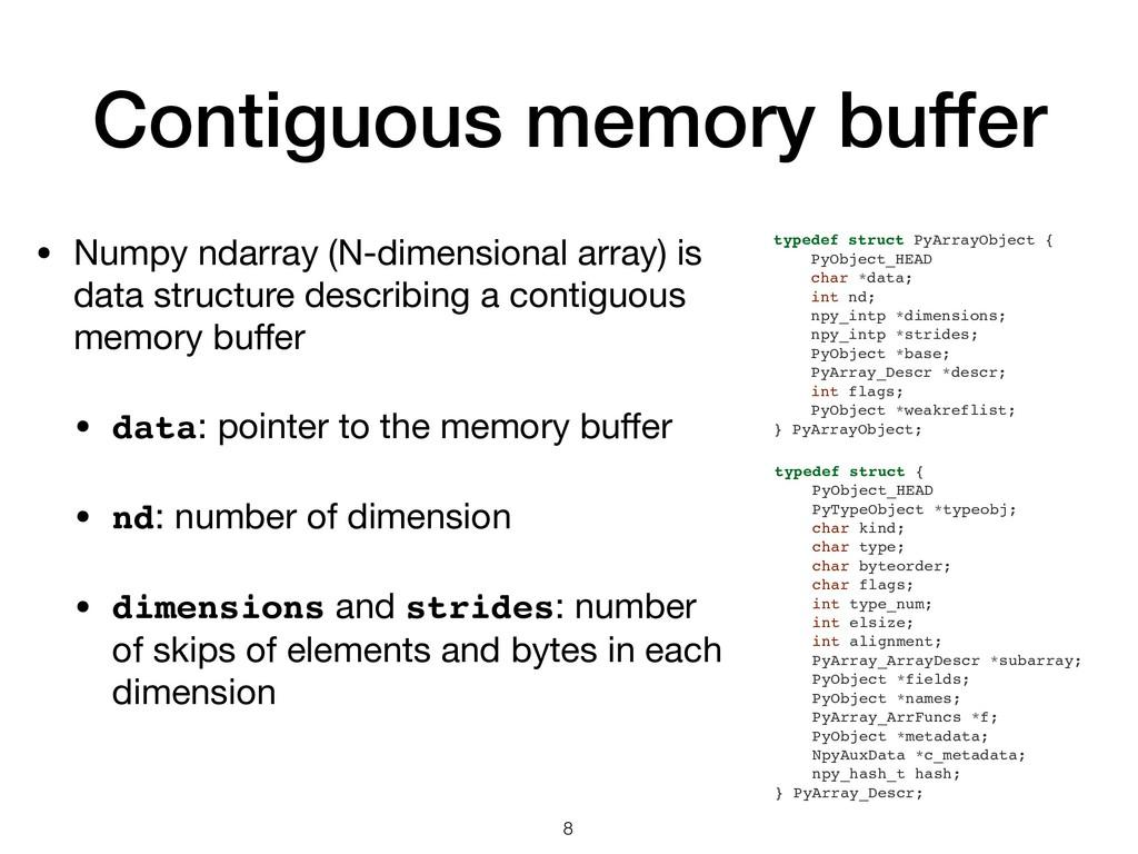 Contiguous memory buffer • Numpy ndarray (N-dim...