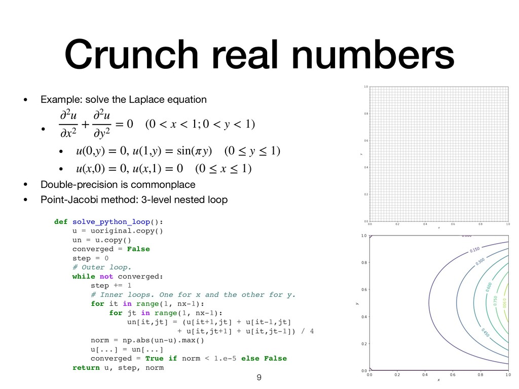 Crunch real numbers • Example: solve the Laplac...