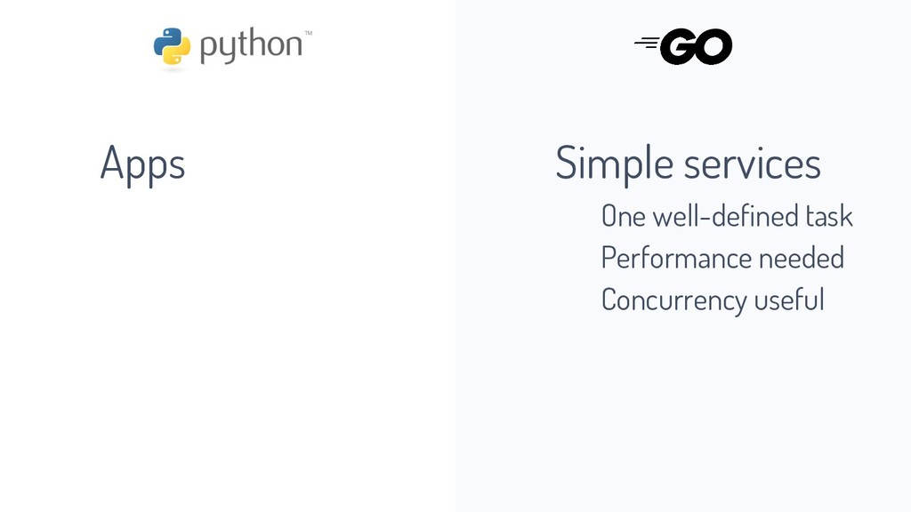 Apps Simple services One well-defined task Perf...