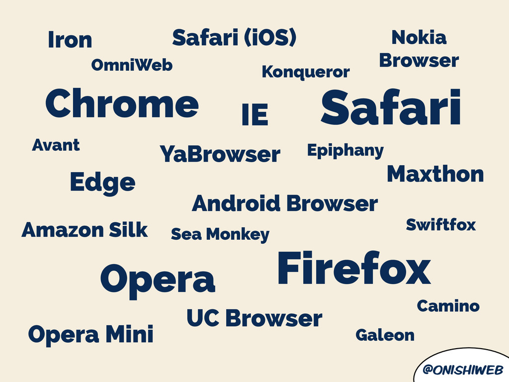 @onishiweb Chrome Firefox IE Safari Opera UC Br...