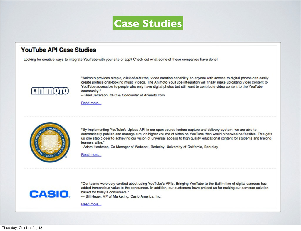 Case Studies Thursday, October 24, 13